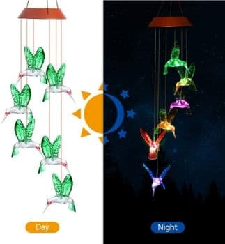 Hummingbird PATHONOR Color Changing Solar Wind Chime
