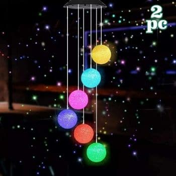 MorTime 2 Pack Solar Crystal Ball Wind Chime