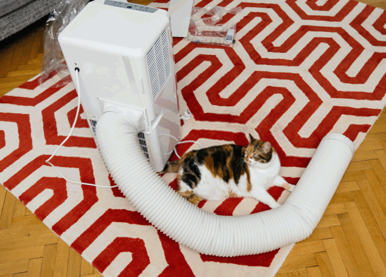 portable air conditioner on a large carpet